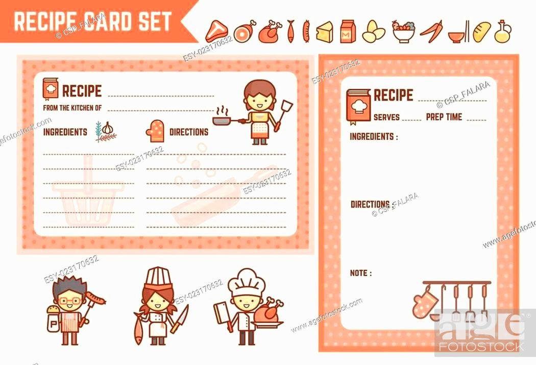 Stock Photo: cooking and kitchen recipe card set.