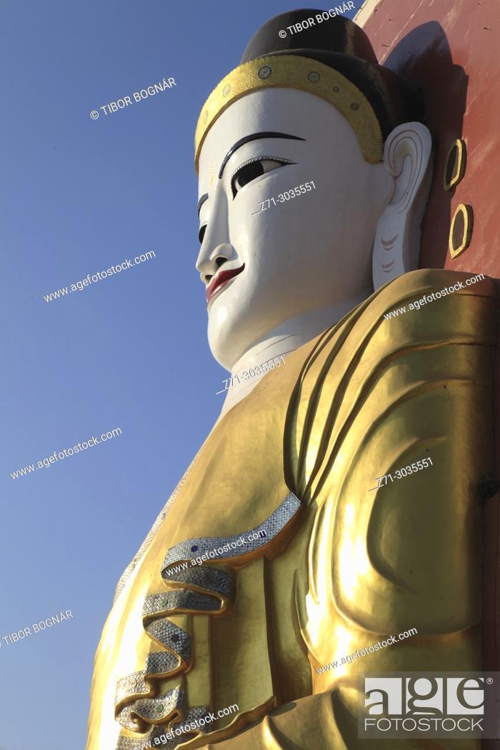 Stock Photo: Myanmar, Burma, Bago, Kyaik Pun, Buddha statue,.