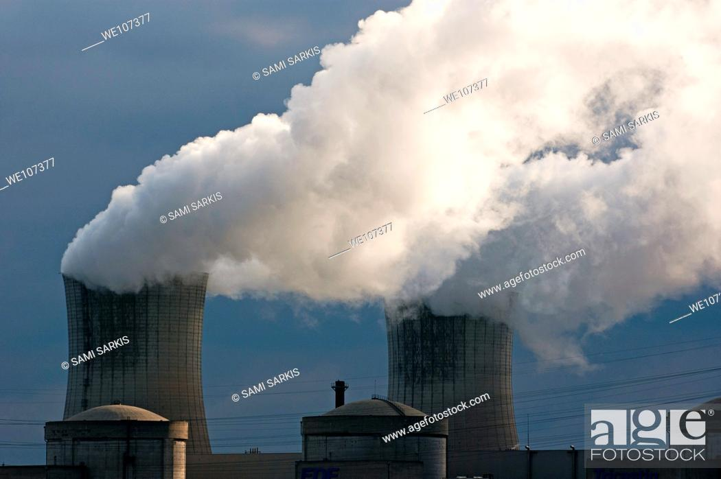 Stock Photo: Smoke chimneys of Tricastin Nuclear Power Plant, Drome, France.