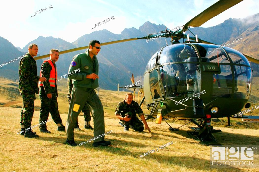 Stock Photo: Swiss Air Force pilot instruction, Alouette III helicopter.