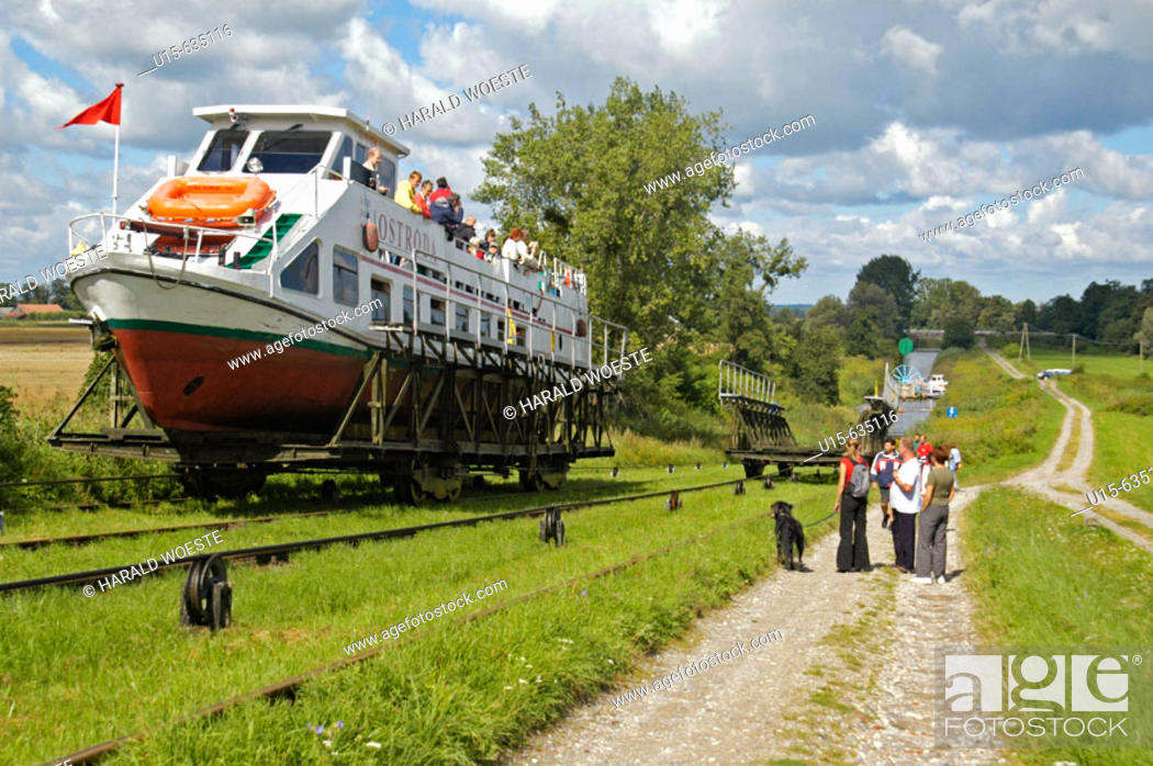 Stock Photo: A system of rail-mounted cable trolleys on skipways and traditional locks are connecting the various sections of the Elblag Canal.
