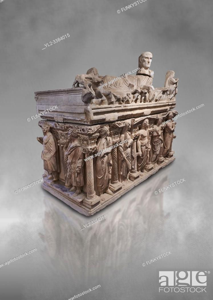 "Stock Photo: Roman relief sculpted sarcophagus with kline couch lid with a reclining male figuer depicted, """"Columned Sarcophagi of Asia Minor'style typical of Sidamara."