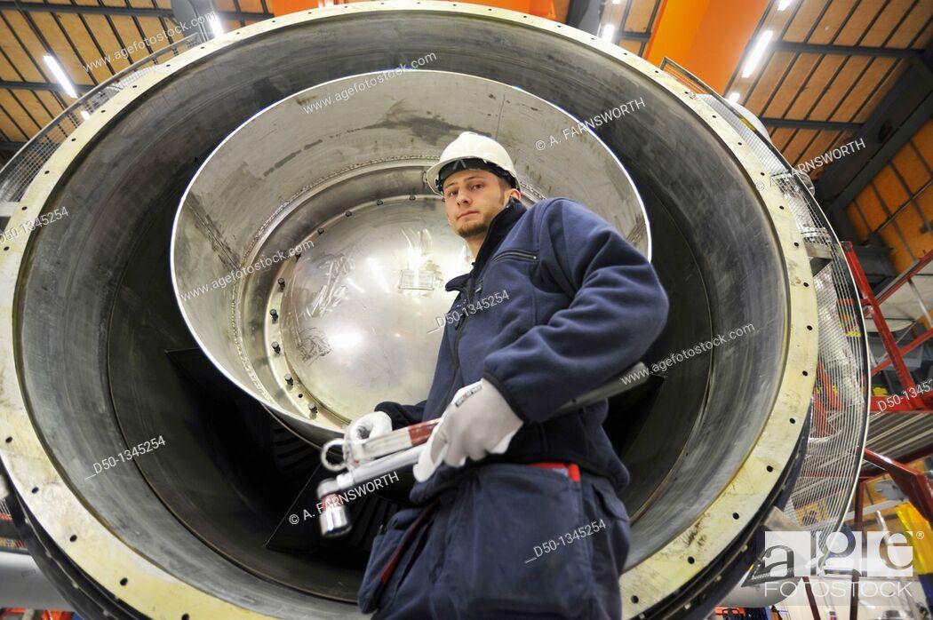 Stock Photo: Siemens turbine factory worker, Finspong, Sweden.