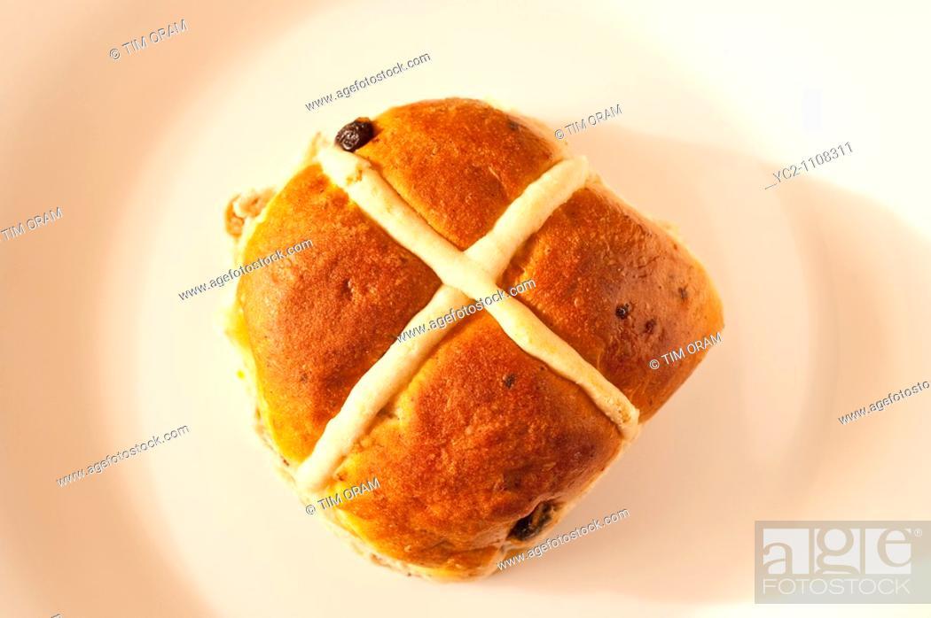 Stock Photo: A hot cross bun.