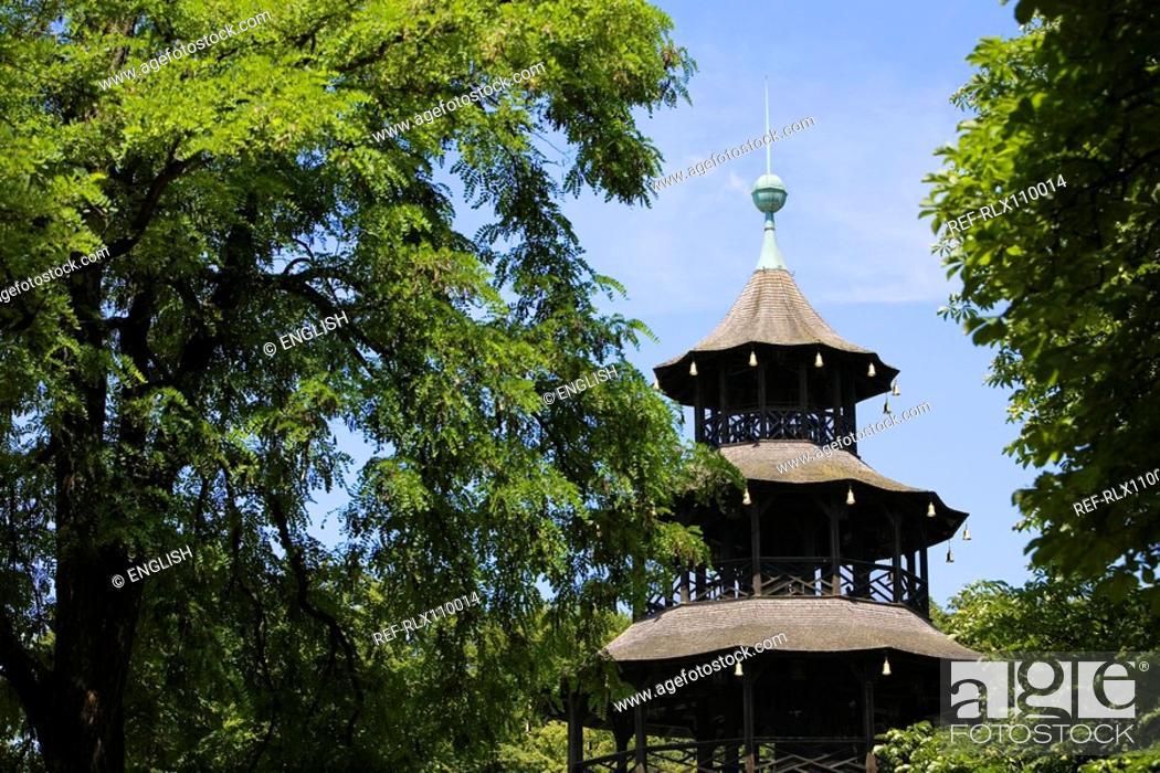 Stock Photo: Chinese Tower beer garden in English Garden, Munich, Bavaria, Germany.