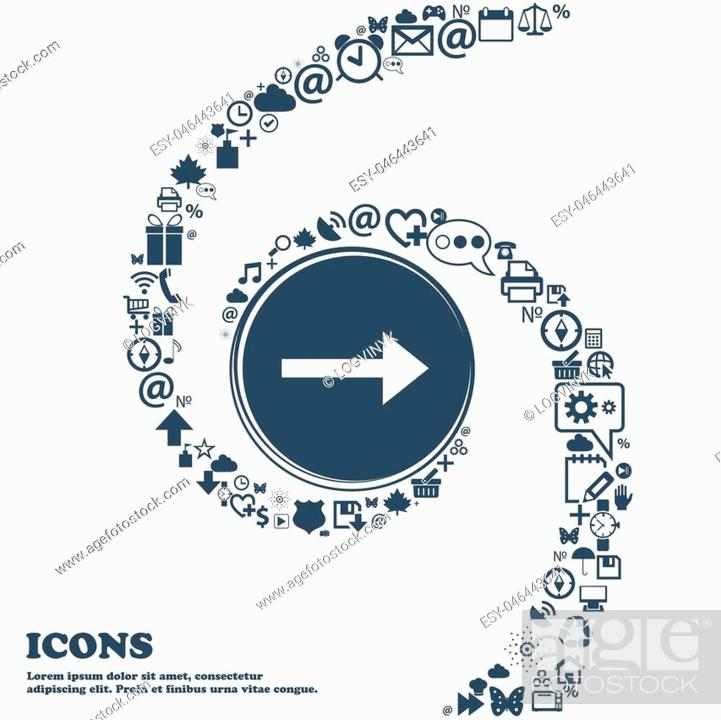 Vector: Arrow right, Next icon sign in the center. Around the many beautiful symbols twisted in a spiral. You can use each separately for your design.
