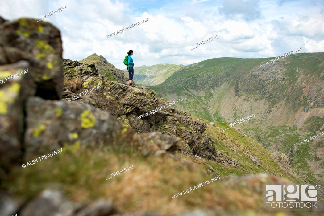 Stock Photo: The trail to The Old Man of Coniston in the Lake District National Park, Cumbria, England, United Kingdom, Europe.