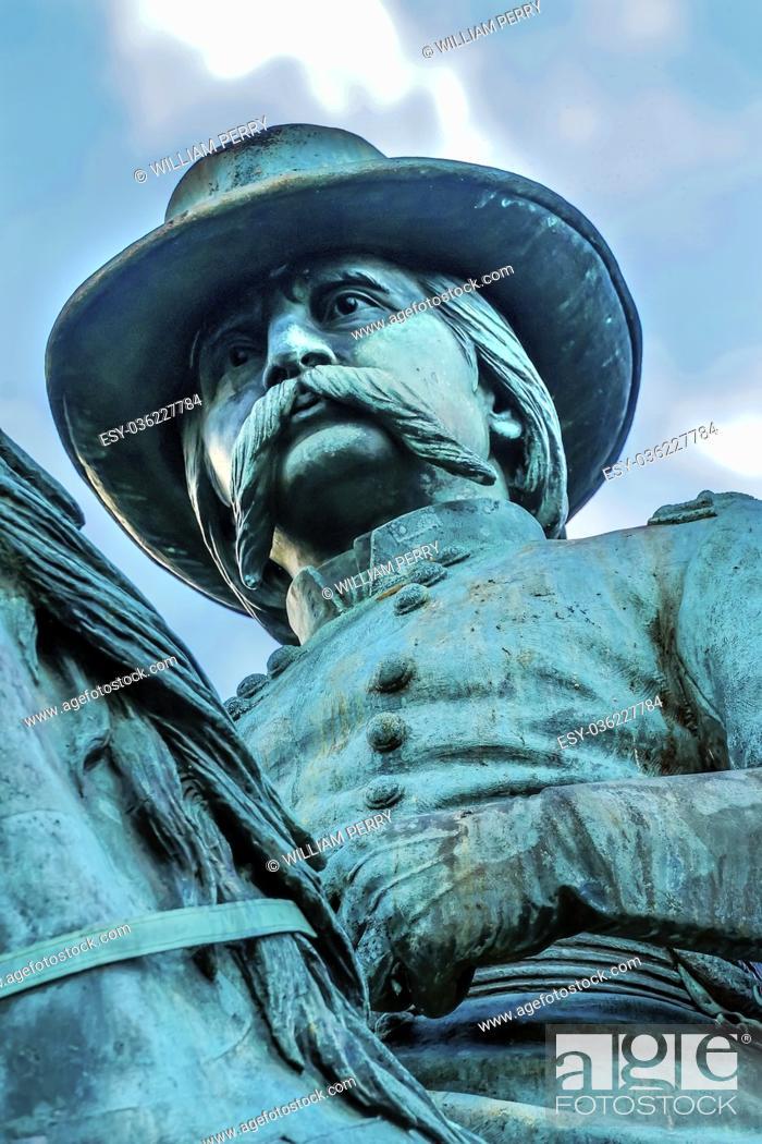 Stock Photo: General John Logan Memorial Civil War Statue Logan Circle Washington DC. Statue dedicated in 1901, Sculptors Franklin Simmons and Richard Hunt.
