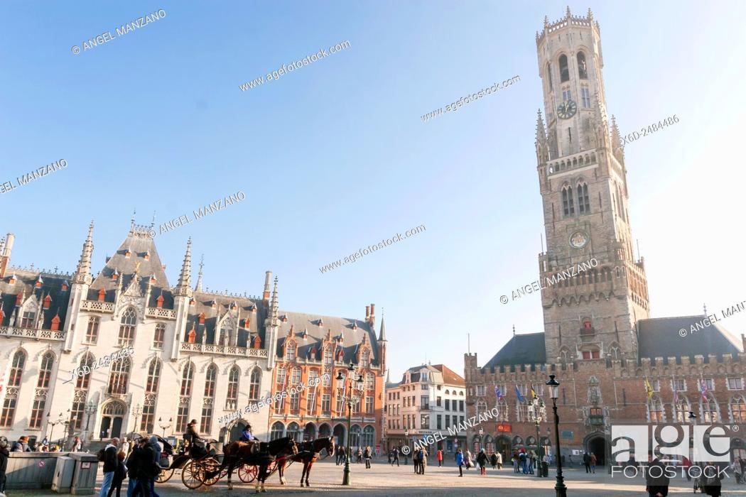 Stock Photo: The belfry or Belfort of Bruges, Belgium.