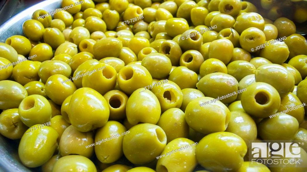 Stock Photo: Olives 'Manzanillo' without stone.
