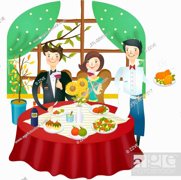 Stock Photo: A couple having dinner in a restaurant.