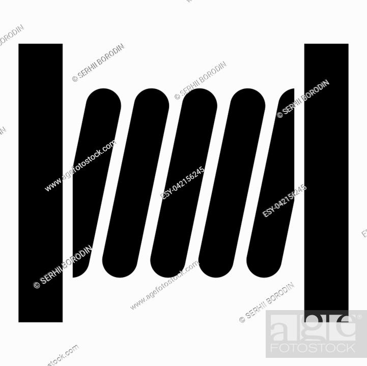 Stock Vector: Coil with wire icon black color vector illustration flat style simple image.