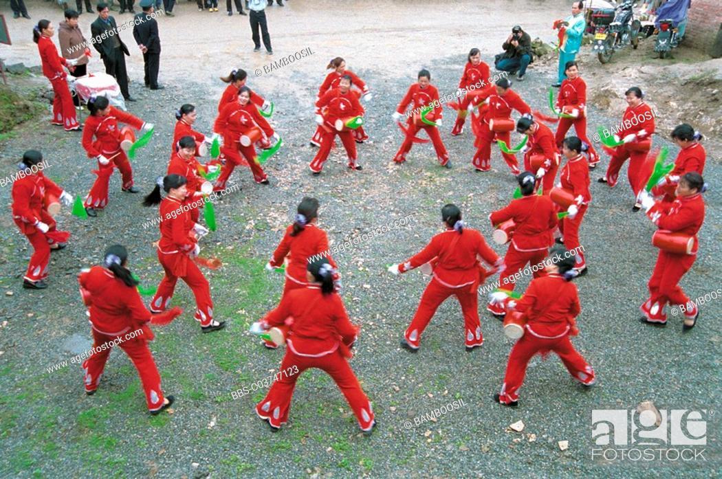 Stock Photo: She nationality women folk custom drum performance, Rixi Township, Jinan District, Fuzhou City, Fujian Province of People's Republic of China.
