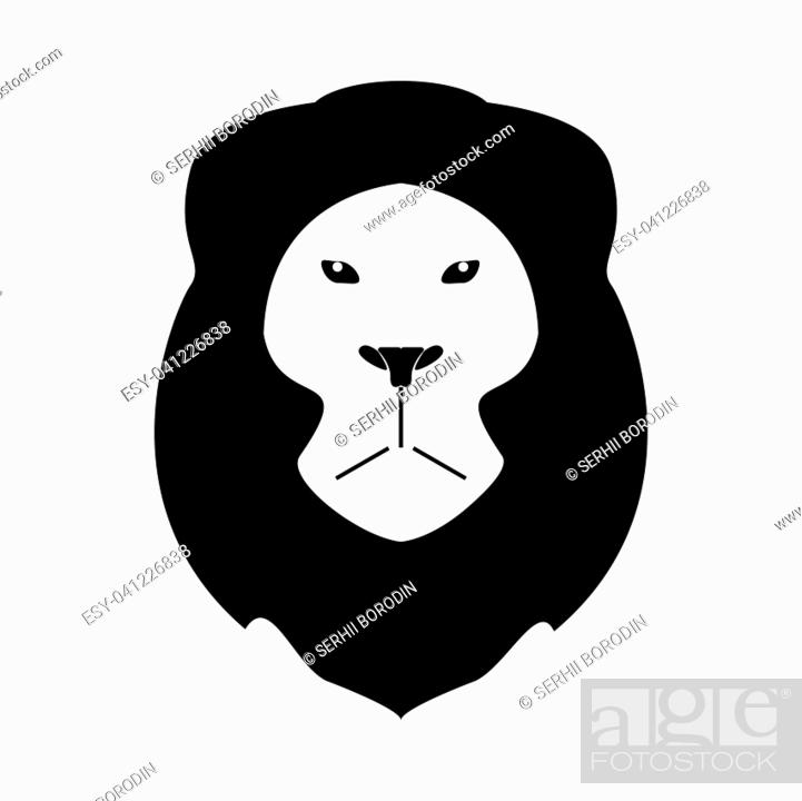 Stock Vector: Lion head it is the black color icon .
