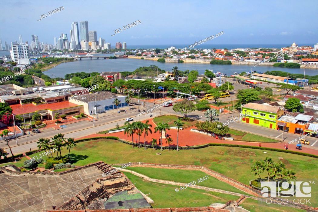 Stock Photo: Overview of Cartagena de Indias from the castle of San Felipe de Barajas, Colombia.