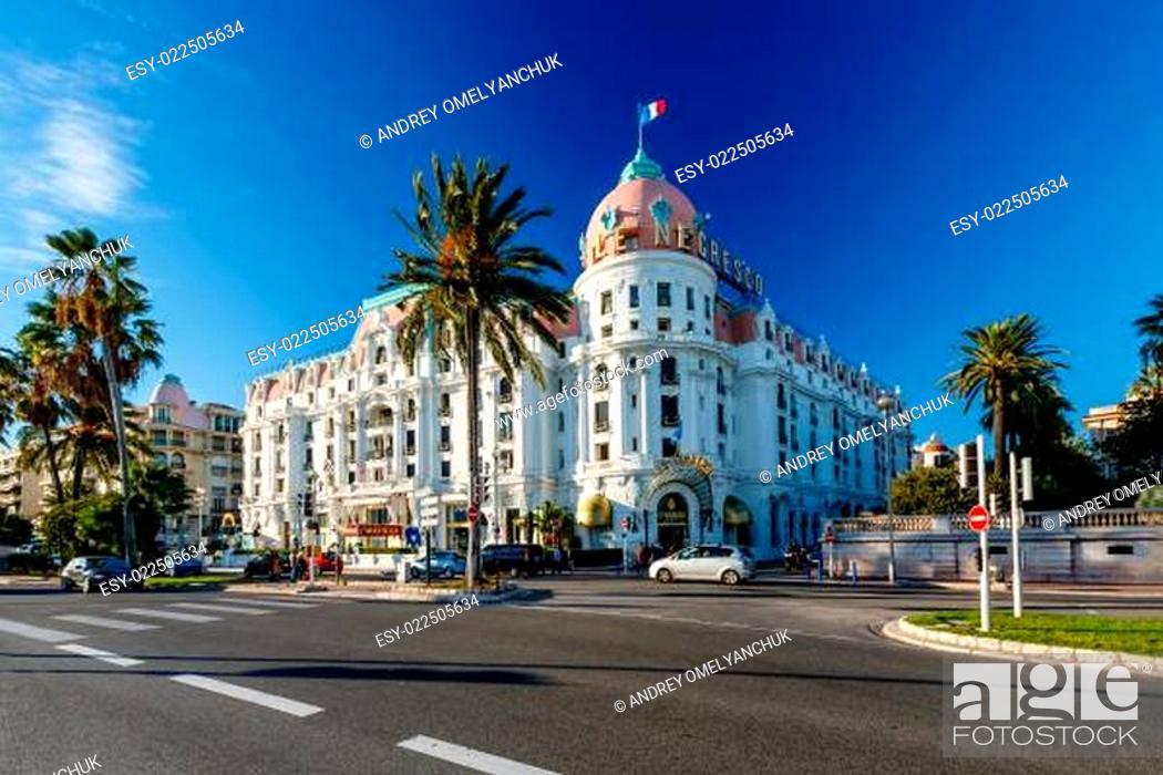 Stock Photo: Luxury Hotel Negresco on English Promenade in Nice, French Rivie.