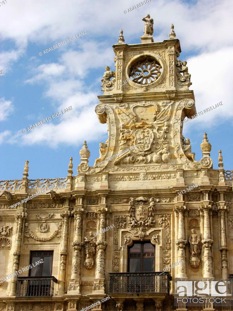 Stock Photo: Clock. Hostal San Marcos. Leon. Castilla-Leon. Spain.
