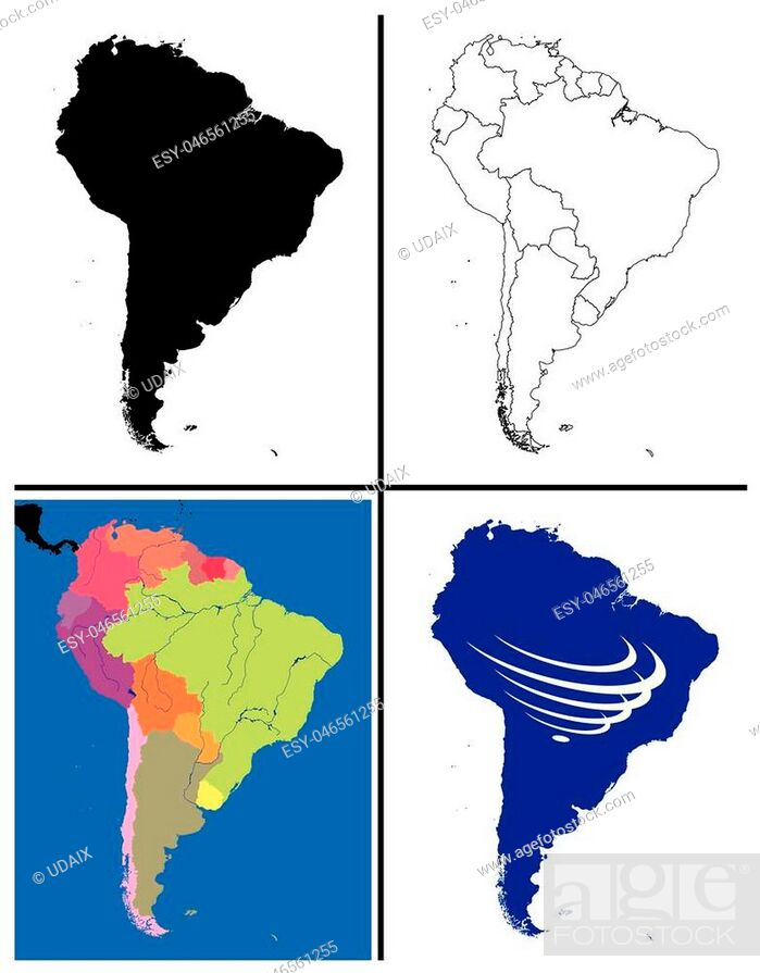 Stock Vector: South America Maps Collection including silhouette political line art topographic also with south america countries union flag UNASUR draw for full continent.