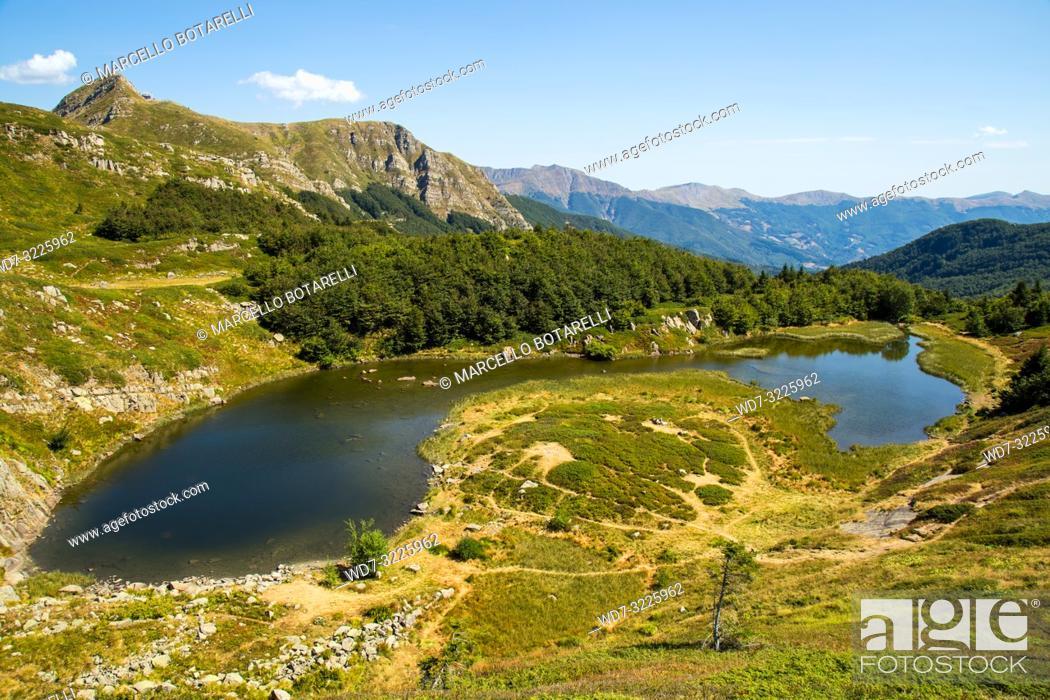 Stock Photo: lake and landscape of the abetone mountains, pistoia, tuscany, italy.