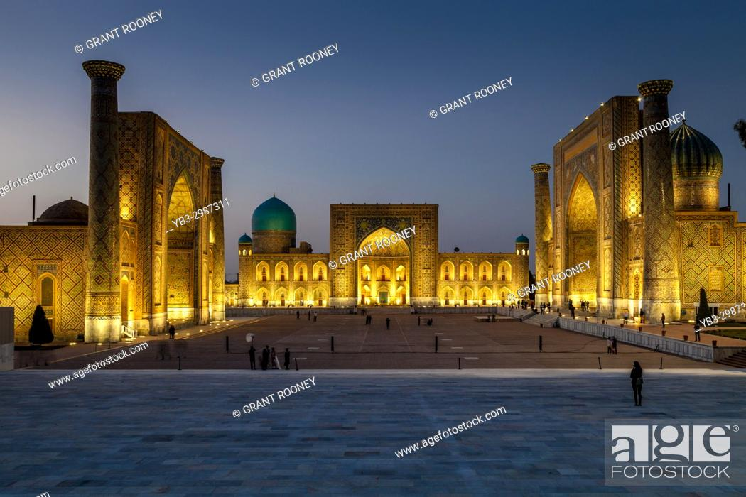Stock Photo: The Registan At Night, Photographed From The Viewing Platform, Samarkand, Uzbekistan.