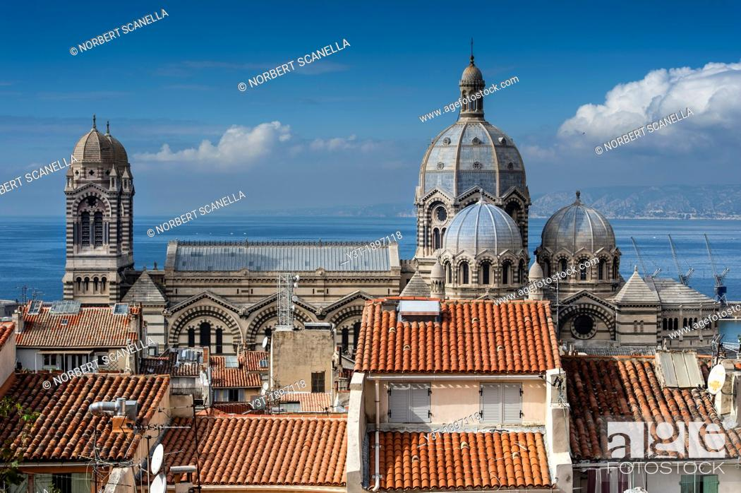 Stock Photo: Europe, France, Bouches-du-Rhone 13, Marseille, European Capital of Culture 2013, 2nd District, Zone Euroméditerranée  Cathedral 'The Major' of the nineteenth.