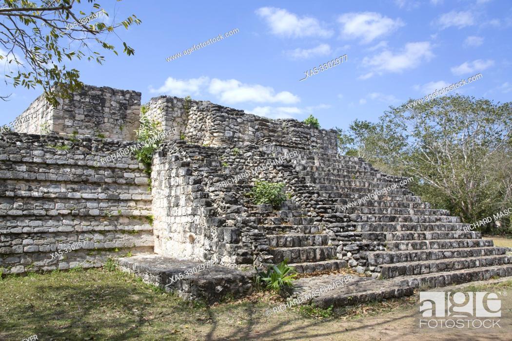 Stock Photo: Structure 17,Ek Balam, Yucatec-Mayan Archaeological Site, Yucatan, Mexico.