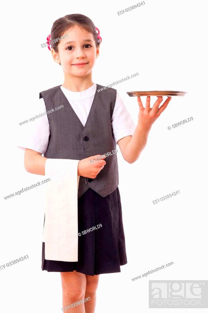 Photo de stock: Little waitress standing with tray and towel, isolated on white.