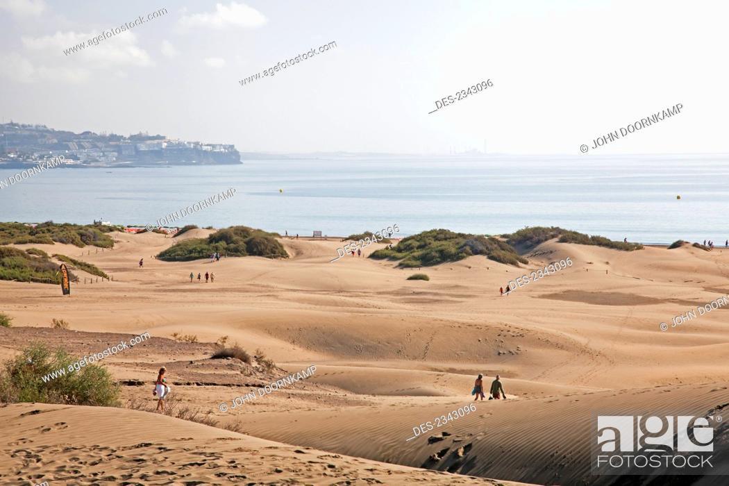 Stock Photo: Walking on the sand dunes; Maspalona, Gran Canaria, Spain.
