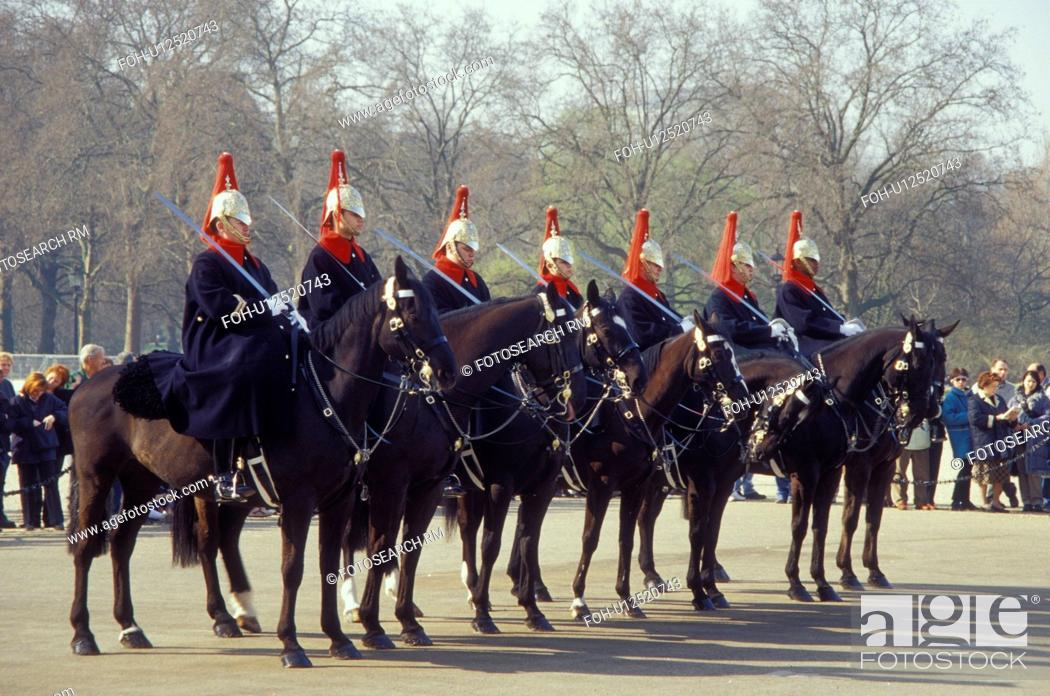 Stock Photo: Horse Guards, London, England, Great Britain, United Kingdom, Europe, Changing of the Guards (Horse Guards) outside Whitehall.