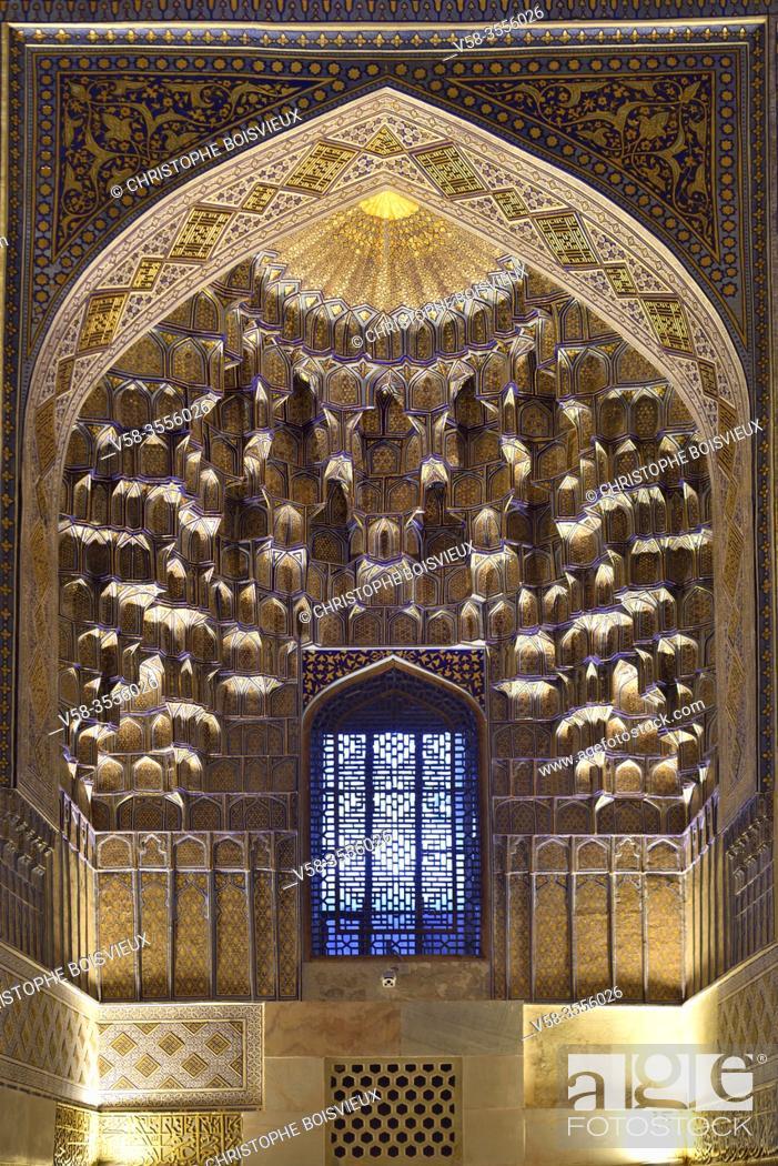 Stock Photo: Uzbekistan, Unesco World Heritage Site, Samarkand, Gur-e-Amir mausoleum, Elaborately decorated muqarnas.