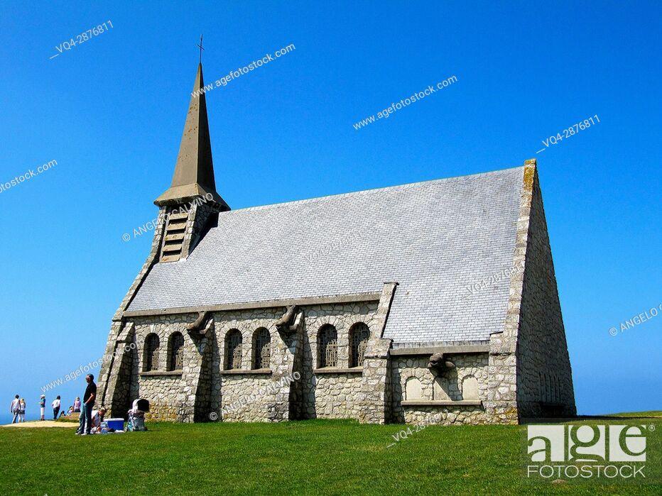 Stock Photo: L'Eglise de Notre Dame de la Garde facing Etretat, Le Havre, Seine-Maritime, Normandy, France, Europe.