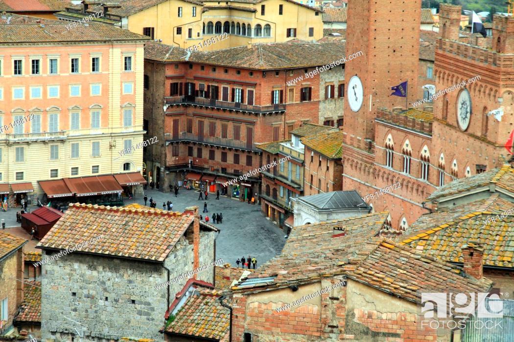 Stock Photo: View of Siena from above, Siena, Tuscany, Italy,.
