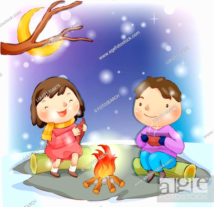 Stock Photo: couple, snow, boy, girl, chirstmas, child.