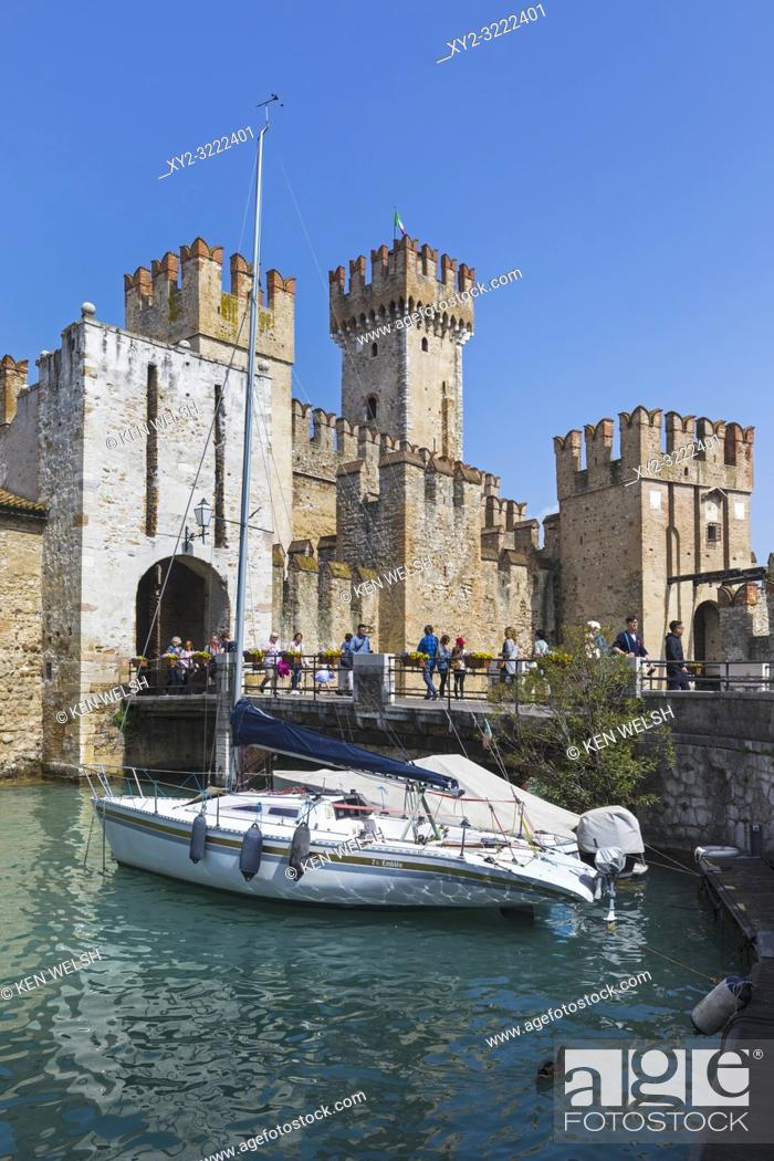 Stock Photo: Sirmione, Brescia Province, Lombardy, Italy. The Scaligero Castle. Building of the original castle began in the 13th century.