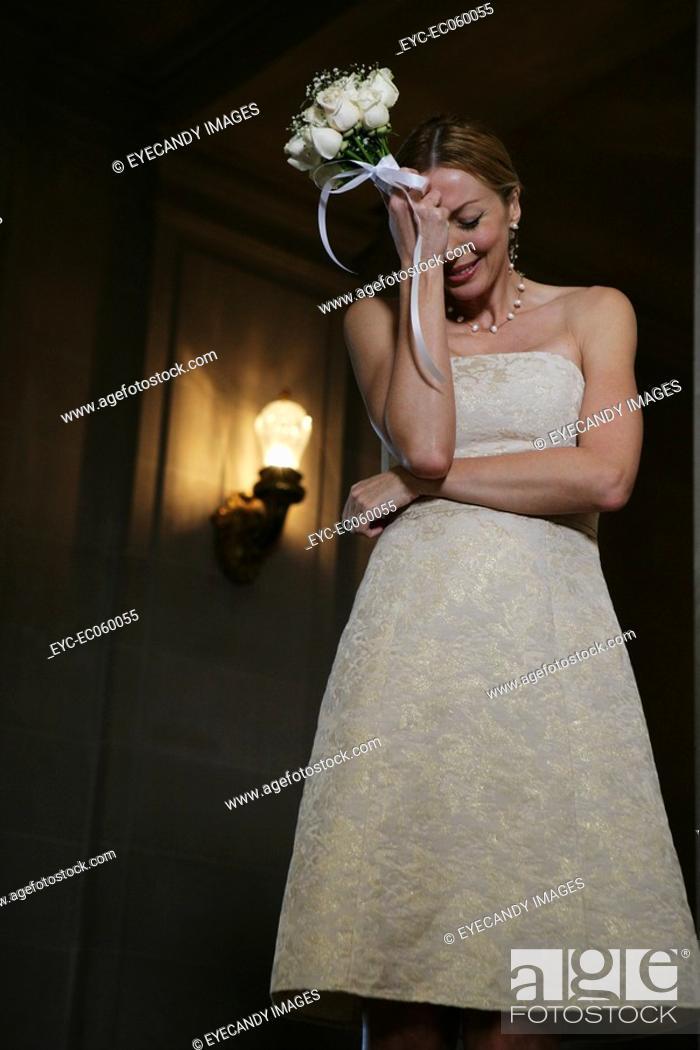 Stock Photo: Emotional boomer bride.