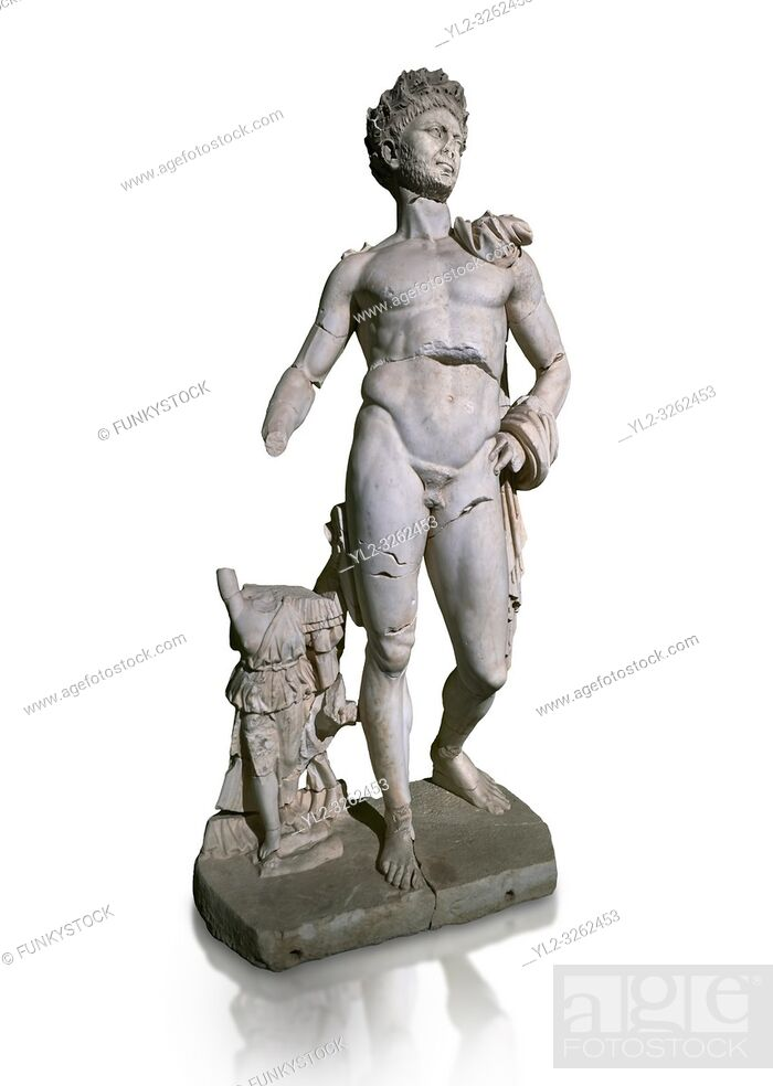 Stock Photo: Roman statue of Emperor Trajan. Marble. Perge. 2nd century AD. Inv no . Antalya Archaeology Museum; Turkey. Against a white background.