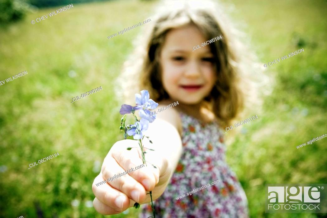 Stock Photo: Girl holding flower to camera.