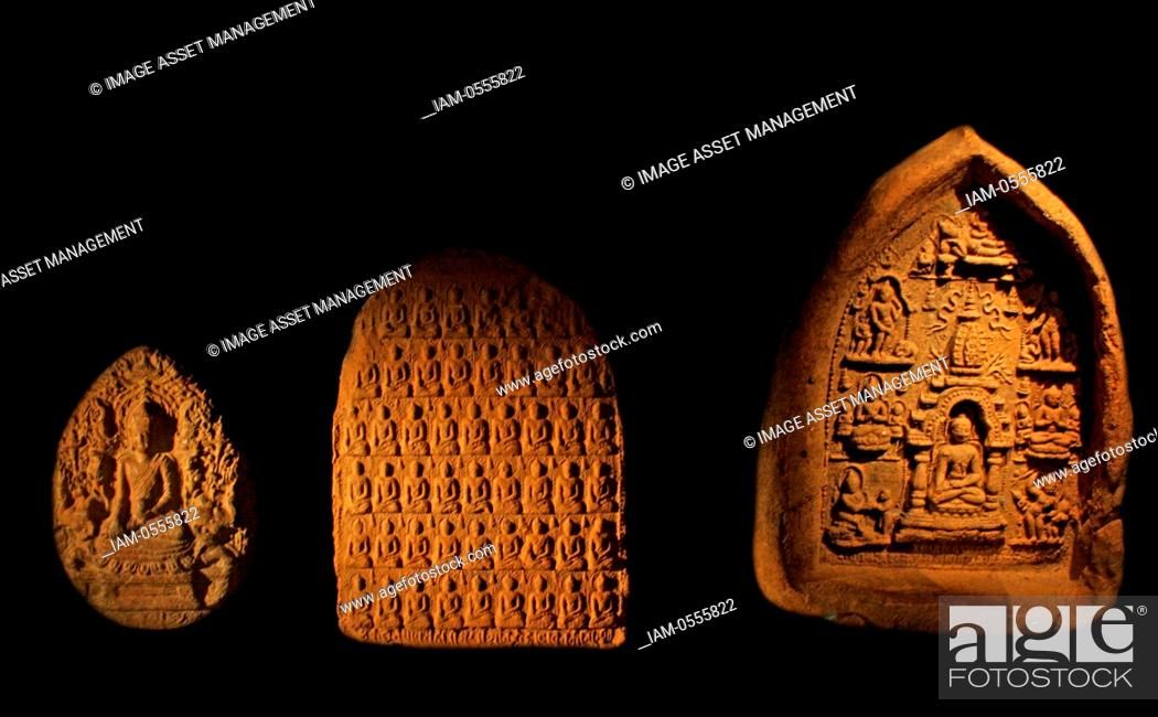 Terracotta votive plaques  Akshobhya Buddha, Hmawza, Burma