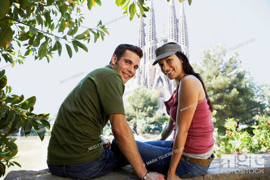 Stock Photo: Young couple enjoying view in Barcelona portrait.