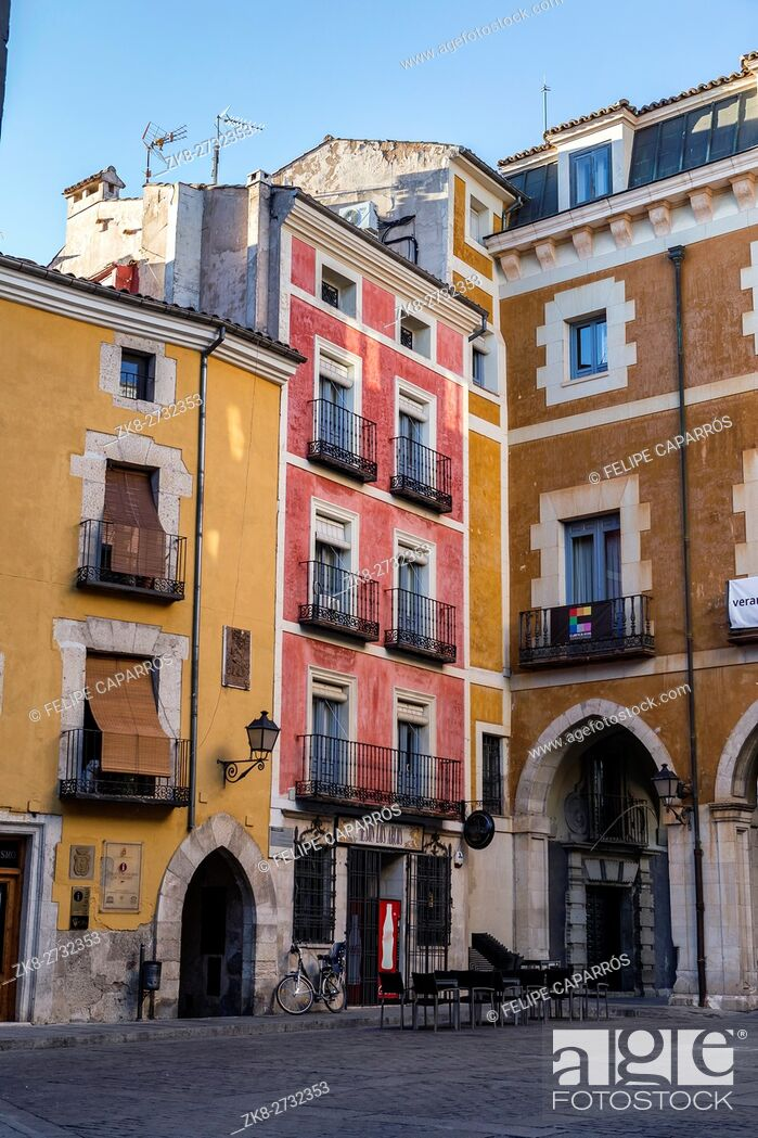 Stock Photo: typical houses construction in the old town of the city of Cuenca, fronts painted with living colors, Cuenca, Spain.