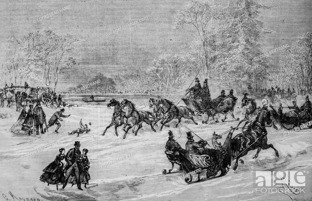 Photo de stock: les trainaux au bois de boulogne, l'univers illustre, editeur michel levy 1868.