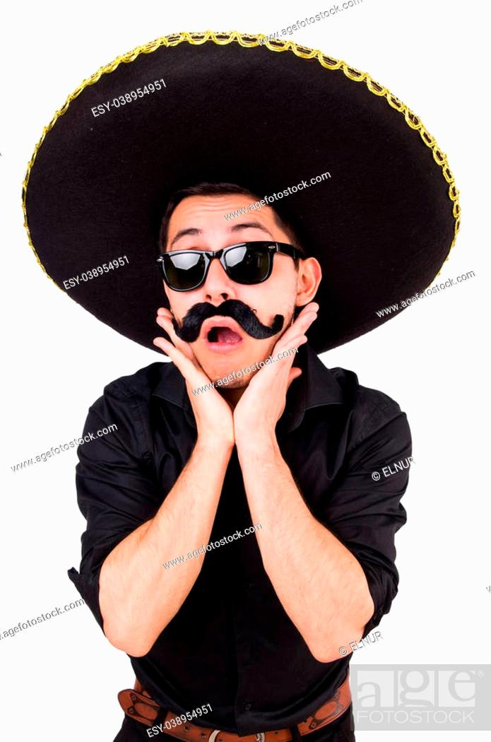Stock Photo: Funny man wearing mexican sombrero hat isolated on white.