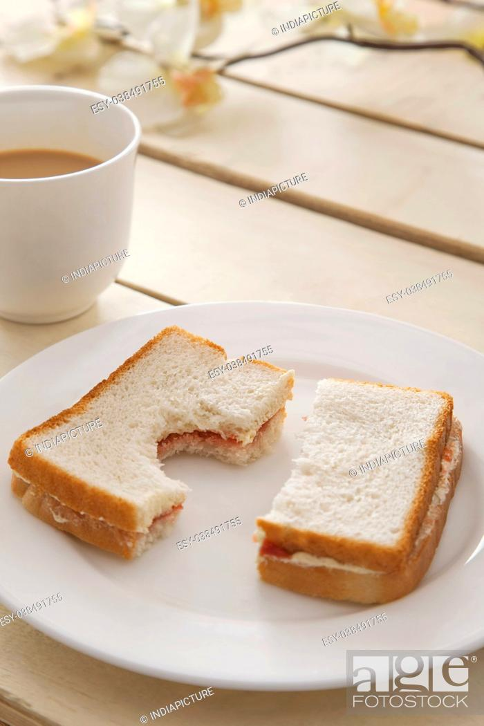 Stock Photo: Bread with cup of tea in breakfast.