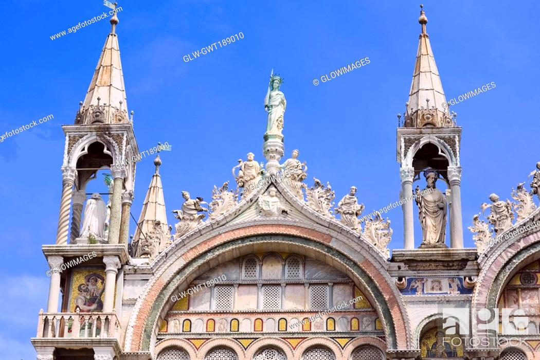 Stock Photo: High section view of a cathedral, St  Mark's Cathedral, Venice, Italy.