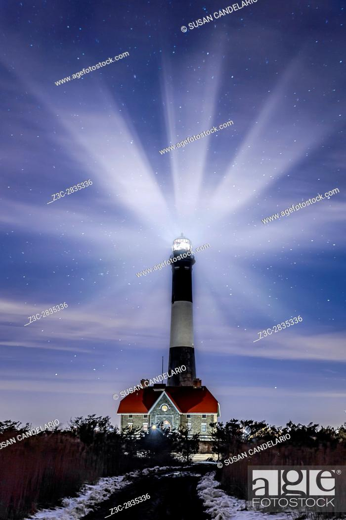 Stock Photo: Fire Island Lighthouse Twilight - is a visible landmark on the Great South Bay, in southern Suffolk County, New York on the western end of Fire Island.
