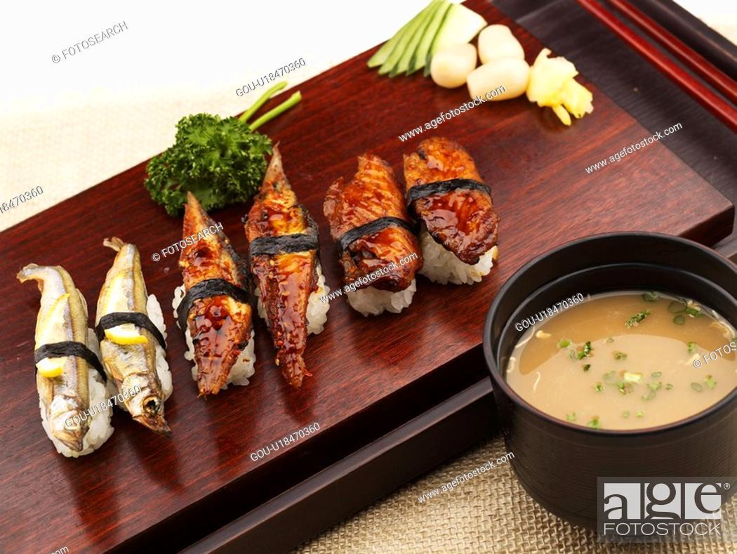 Stock Photo: miso soup, plate, chopstciks, decoration, food styling, shishamo, sushi plate.