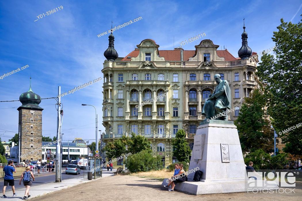 Stock Photo: Prague Czech Republic. Statue of Alois Jirásek by the river Vltava.