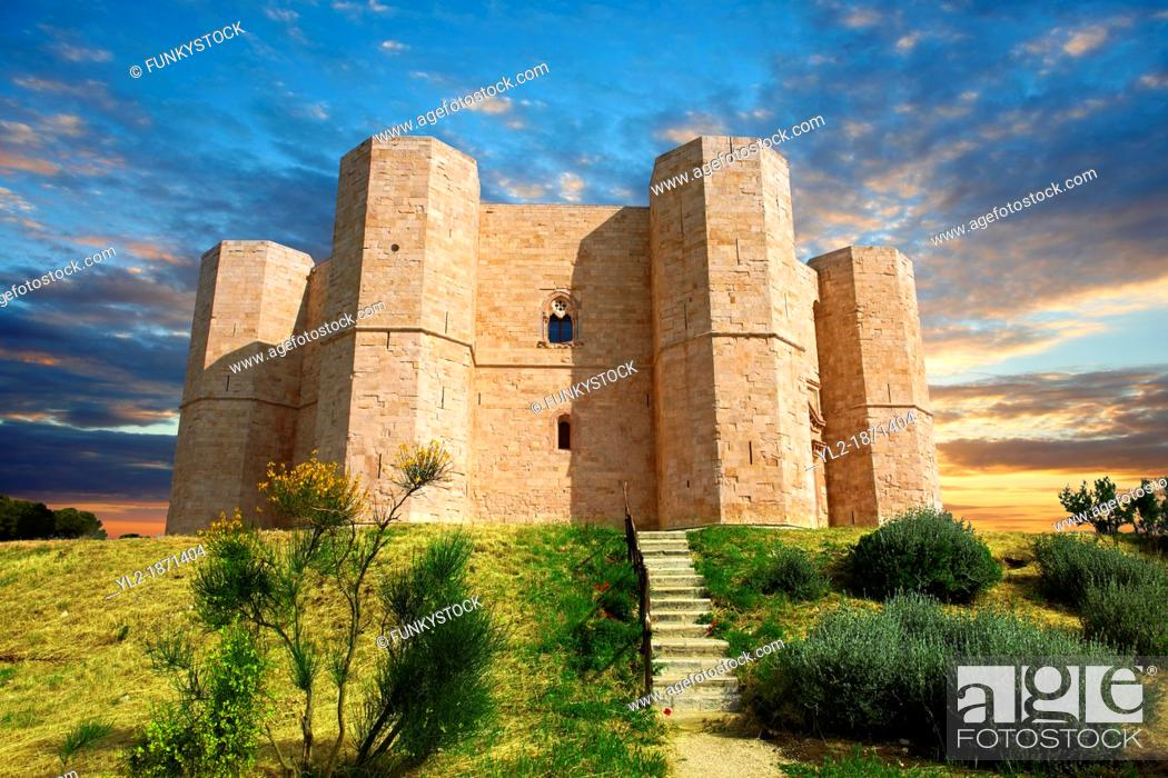 Stock Photo: The medieval octagonal castle Castel Del Monte, built by Emperor Frederick II in the 1240's near Andria in the Apulia southern Italy.