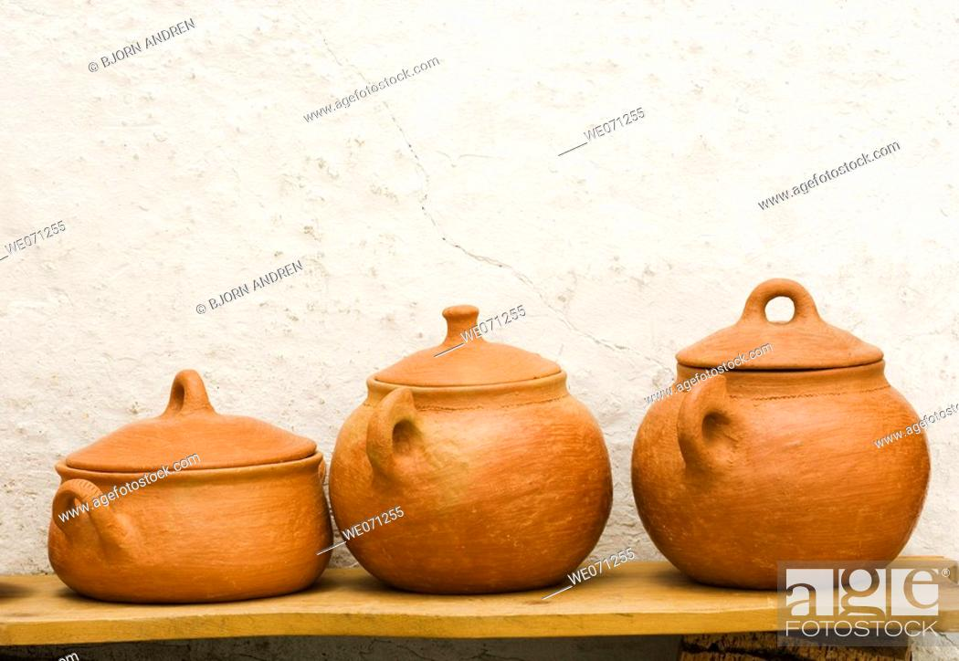 Stock Photo: Pottery. Local handicraft from Vejer de la Frontera. Andalucia. Spain.