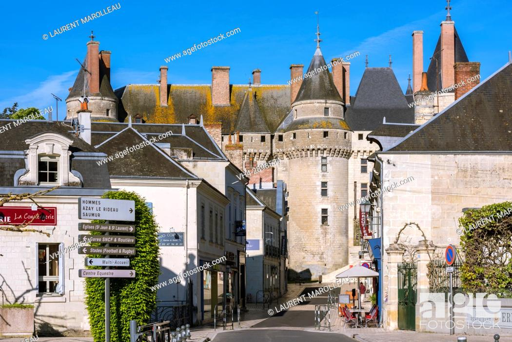Stock Photo: The City and the Castle of Langeais, Indre-et-Loire, Centre region, Loire valley, France, Europe.